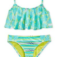 Roxy Girls' 2-Piece Palm-Print Flutter Bikini Set | macys.com