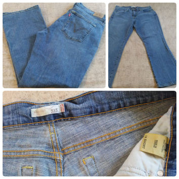 Levis 515 Boot Cut Women's Stone Wash Jeans Size 14 Inseam 29 Short (0003-14)