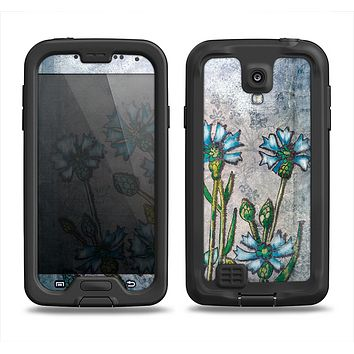 The Watercolor Blue Vintage Flowers Samsung Galaxy S4 LifeProof Fre Case Skin Set