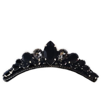 Black Gothic Tiara // Swarovski Crystal Hair Jewelry // Gothic Wedding Jewelry // Hair comb Headpiece