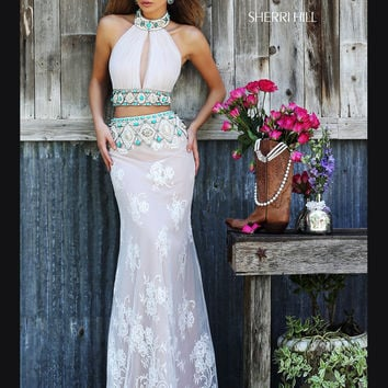 Halter Crop To Sherri Hill Lace Prom Dress 32233
