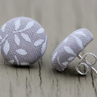 Round Fabric Earrings : Grey and White Fabric Covered Button Earrings, Cute, Fun, Simple, Unique, Casual