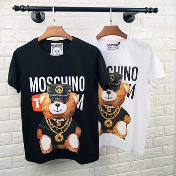 MOSCHINO 2020 New Cartoon Necklace Leather Teddy Bear Print Round Neck Sleeve Shirt