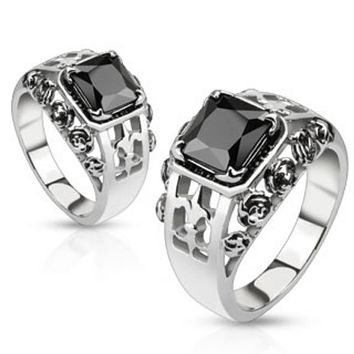 Rose Royal Fleur De Lis Set Black Square Gem Cast Ring Stainless Steel
