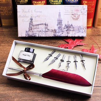 Antique Quill Feather Dip Pen Writing Ink Set Stationery Gift Box with 6 Nib Wedding Gift Quill Pen Fountain Pen Mother's Day