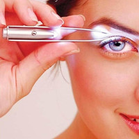 New Women Make Up LED Light Hair Removal Tweezer Eyelash Eyebrow Tool Present = 1706190148