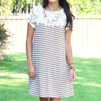Striped + Lace Shoulders Dress {Mocha+Ivory}