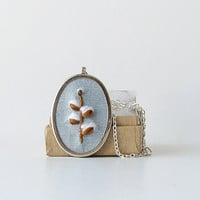 Pussy willow necklace, embroidered jewelry, Spring necklace, botanical necklace, oval pendant, salix necklace, catkins necklace