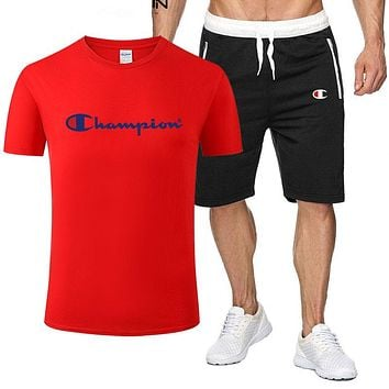 Champion Fashion Men Casual Print Short Sleeve Top Shorts Set Two Piece Sportswear Red