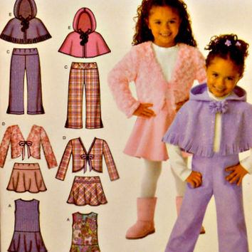 Girls Easy to Sew Jumpers Pattern Flared Skirts Pants Jackets Hooded Ponchos Simplicity 4384 Sewing Patterns Uncut Size 3 4 5 6 7 8