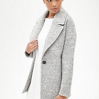 FOREVER 21 Wool-Blend Boucle Coat Heather Grey