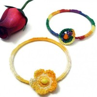 2 bangles in bright colors with beads | Crochetedlittlethings - Jewelry on ArtFire