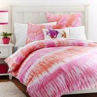 Surfers Point Tie Dye Duvet Cover + Sham, Pink Coral