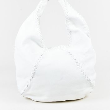 Bottega Veneta White Cervo Leather Intrecciato Trim Large Hobo Bag