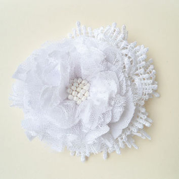 Fabric Flowers Hair Accessories, White Lace Flowers Hair Clips, Wedding Hair Pieces, Bridal Fascinators, Bridesmaids Hair Flowers