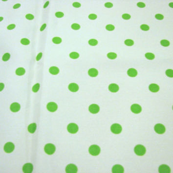 1970s Fabric Green Polka Dot Fabric Lime Green Polkadots