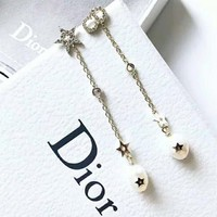DIOR New fashion pearl star diamond long earring women