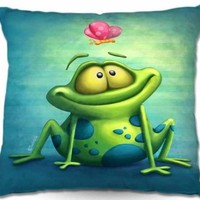 Decorative Woven Couch Throw Pillow from DiaNoche Designs by Artist Toosh Toosh Home Unique Bedroom, Living Room and Bathroom Ideas The Frog II