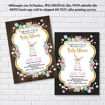 Bunny Baby Shower, easter girl baby shower, Rabbit shower,  Baby girl shower , baby boy shower Invitation Card Design - card 1232