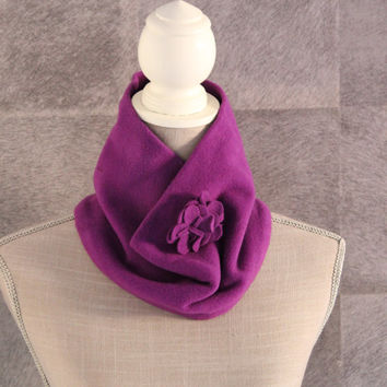 Winter neck scarf in purple and turquoise,Flower neck scarf, Womens neck scarf,gift for her,women shawl,