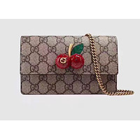 GUCCI GARDAEN CHERRY LEATHER SHOULDER BAG