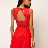 ASOS Skater Dress With Lace Back at asos.com