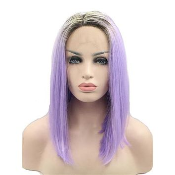 2018 Short Black To Purple Ombre Bob Synthetic Lace Front Wig