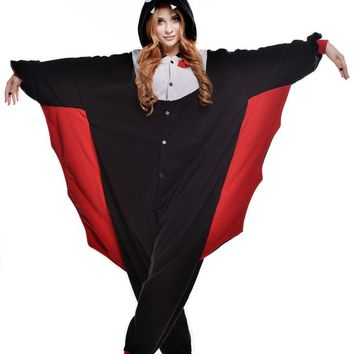 Fashion Black Red Bat Adult Pajamas Kigurumi Animal Sleepwear Party Jumpsuit Sleepsuit Onesuit Halloween Cosplay Costumes