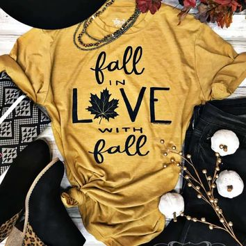 Mustard Fall in Love with Fall Graphic Tee (S-2XL)