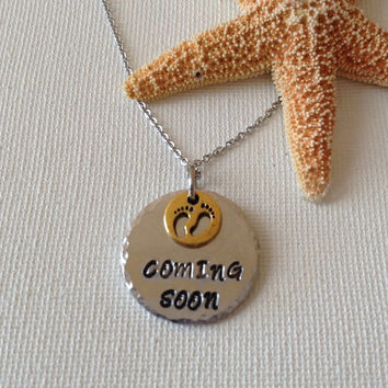 Coming soon, new baby necklace, new mom, new mother, pregnancy announcement, birth of baby, expecting.
