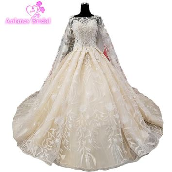 New 2018 Princess Lace Beads Vintage Wedding Dresses Long Sleeve Formal Bridal Gown Custom Size Plus Size Queen Bridal Ball Gown