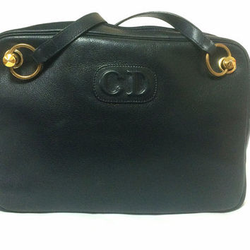 b884876db4 Vintage Christian Dior navy leather shoulder bag with CD embossed motif and  golden brass. Masterpiece