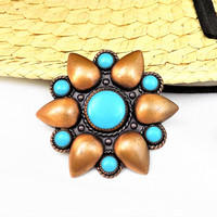 Bell Trading Copper Brooch, Turquoise Cabochons, Vintage Jewelry