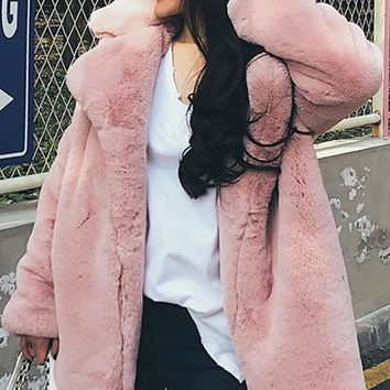 New Pink Faux Fur Pockets Turndown Collar Long Sleeve Coat