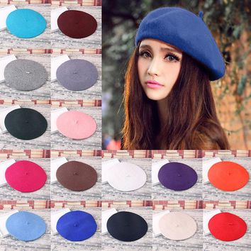 Sweet Plain Beret Hat Wool Autumn Women Girls Fashion Hats French Beret Winter