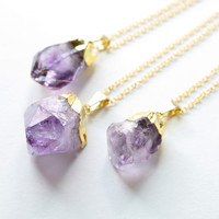 Gold Amethyst Crystal Necklace