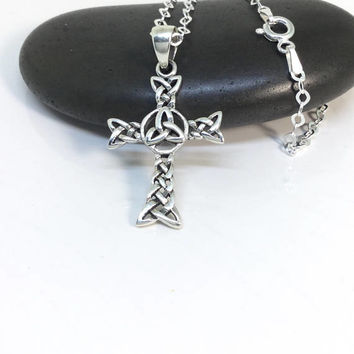 Celtic Cross Necklace Sterling Silver Triquetra Pendant Silver Celtic Cross 925 Silver Irish Jewelry Men Necklace Woman Necklace