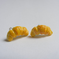 Croissant Miniature Food Earrings - Miniature Food Jewelry, Handmade Jewelry Earrings