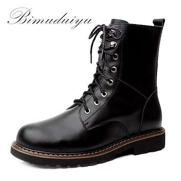 Autumn Classic Men Motorcycle Martin Ankle Boots Luxury Leather Waterproof Winter Warm Boots