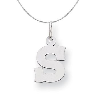 Silver, Amanda Collection Small Block Style Initial S Necklace