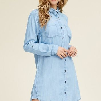 Light Wash Long Sleeve Denim Shirt Dress