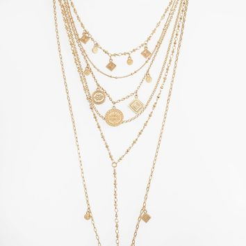 Rebecca Minkoff Etched Charm Multistrand Necklace | Nordstrom