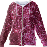 pink glitter hoodie jacket created by GossipRag | Print All Over Me