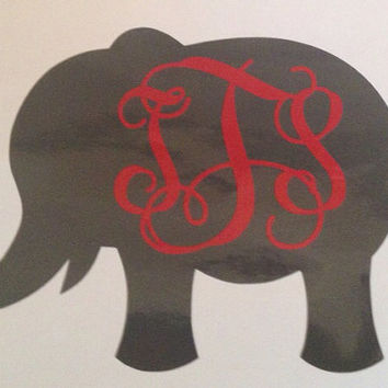 5 inch Vinyl Car Decal Elephant Design Monogram