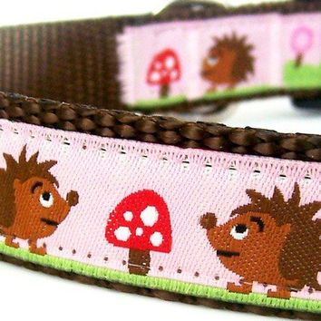 Hedgehogs in the Garden Dog Collar / Pink by daydogdesigns on Etsy