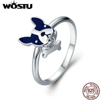 WOSTU Hot Trendy 100% 925 Sterling Silver French bulldog Pet Dog Finger Ring for Women Brand S925 Silver Jewelry Gift CQR321