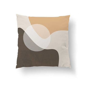 Geometric Textures, Brown Beige Pattern, Simple Art, Decorative Pillow, Simple Decor, Throw Pillow, Home Decor, Cushion Cover, Circle Pillow