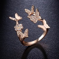 Rose Gold Butterfly CZ Rings