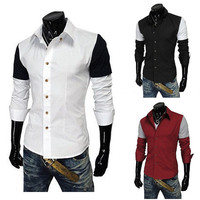 Sleeve Color Blocked Dress Shirt