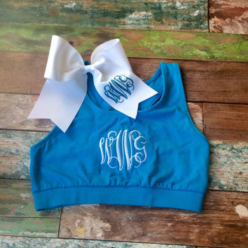 Monogram Sports Bra and Glitter Monogram Cheer bow Monogrammed Girls Teens Women Cheer Gymnastics Dance